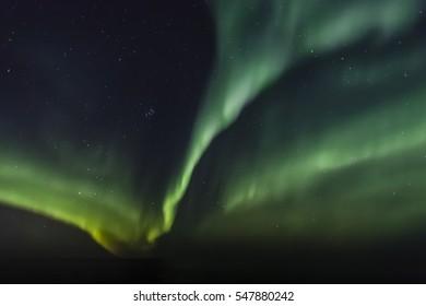 Spectacular Aurora Borealis (Northern lights) over Arctic Ocean