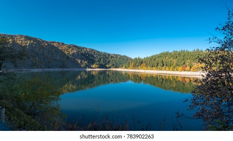 Spectacular autumn view of Lac Blanc in the Vosges mountains, Xonrupt-Longemer, Lorraine, France