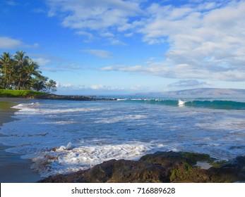 Spectacular Beach and Ocean Wailea Resort Area with Kahoolawe and Molokini in the Background - Polo Beach Park, Wailea, Maui, Hawaii