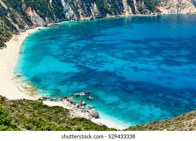 The spectacular beach Petani in Kefalonia island, Greece