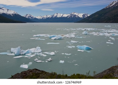 Spectacular blue icebergs floating on the Lake Argentino in the Los Glaciares National Park, Patagonia, Argentina.