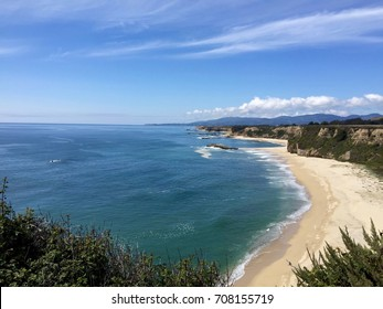 Spectacular Cliffside view of the Beach and the Pacific Ocean, Northern California Coast near Half Moon Bay - Maverick's in the distance