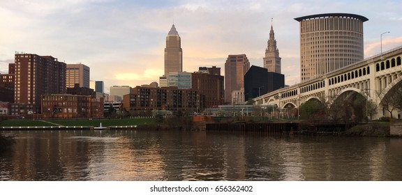 Spectacular color on the river downtown Cleveland  Ohio