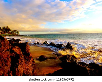Spectacular Colors of a Tropical Hawaiian Sunset at Polo Beach Park, Wailea, Maui, Hawaii