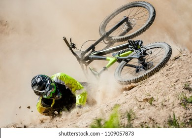Spectacular crash during fast ride on a mountain bike.