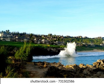 Spectacular Crashing Wave on Lava next to a Golf Course and Homes in Lahaina, Maui, Hawaii