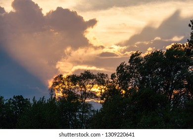 A spectacular display of light from the setting sun on storm clouds with an opening of blue sky above a line of spring trees in shadow.