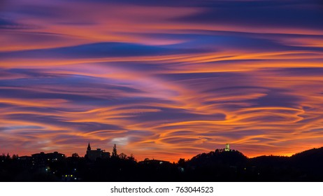Spectacular and dramatic sunset in the sky of northern Italy