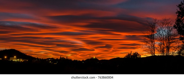 Spectacular and dramatic sunset in the sky of northern Italy on 2017/10/29