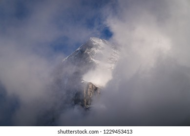 The spectacular Eiger North Face mountain peak, world famous for rock climbing in the alpine region of Kleine Scheidegg in Grindelwald, Switzerland. The Eiger is famous throughout history for climbing