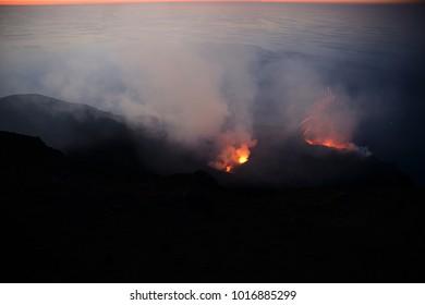 Spectacular eruption of Volcano Stromboli during sunset, Aeolian Islands, Sicily, Italy