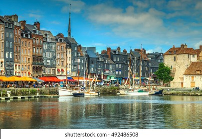 Spectacular famous harbor skyline and water with boats,Honfleur,Normandy,France,Europe