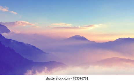 Spectacular and  Fantastic purple mountain ranges silhouettes. At  Taichung, Taiwan. In December, 2016.