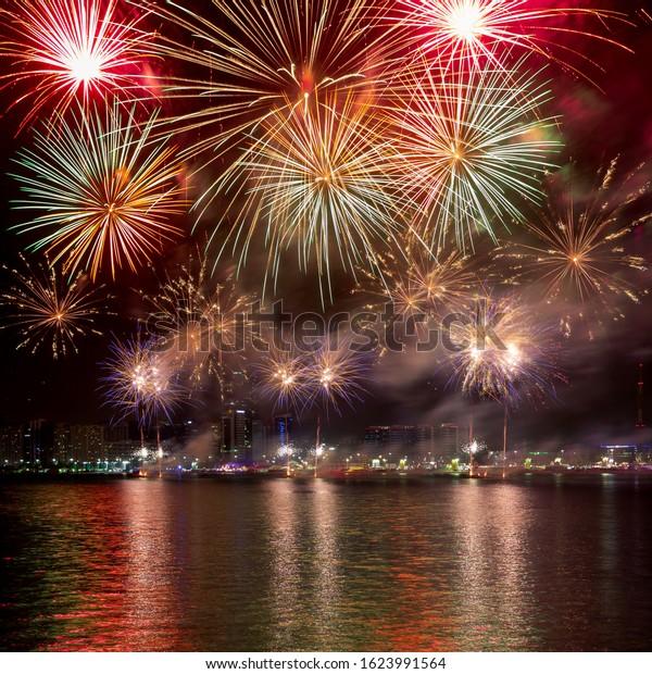 Spectacular fireworks lighting up the sky in Abu Dhabi, UAE