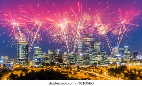 Spectacular Fireworks over Perth Skyline