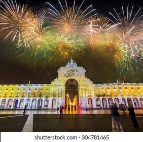 Spectacular Fireworks over Praca de Comercio in Lisbon, Portugal.