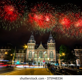 Spectacular Fireworks over the Rijksmuseum at Museumplein in Amsterdam, Netherlands