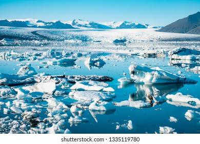 Spectacular glacial lagoon in Iceland with floating icebergs