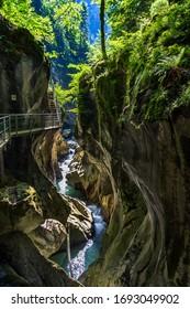 Spectacular Gorges du Pont-du-Diable , a karst located along the Dranse de Morzine, Chablais massif in Haute-Savoie, Portes du soleil region, France.