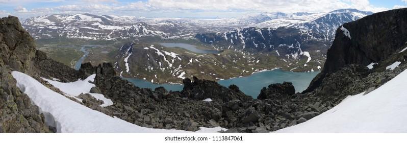 Spectacular hiking the Besseggen Ridge, Norway