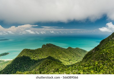 Spectacular jungle landscape with mountain range in Langkawi island, Malaysia