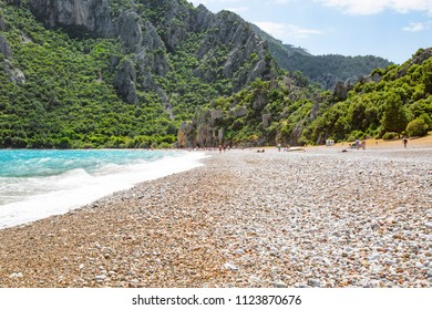 The spectacular landscape of Cirali Beach and Olympos mountain in Antalya. Transparent sea. Vacation in Turkey. April 2018, Turkey