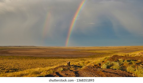 Spectacular landscape with a colorful rainbow in stormy sky, yellow dry grass and bright blue sky. Location on the border between Mongolia and China in the Gobi Desert. China nature landscape.