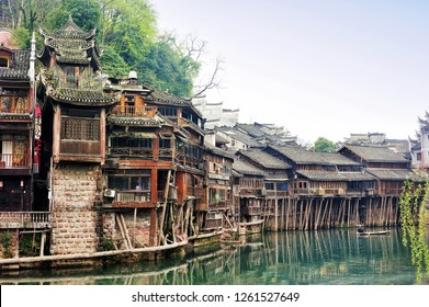 The spectacular landscape of the Diaojiaolou (traditional Chinese gabled wooden houses built on stilts) be preserved  in Fenghuang old city (Phoenix Ancient Town),Hunan Province, China.
