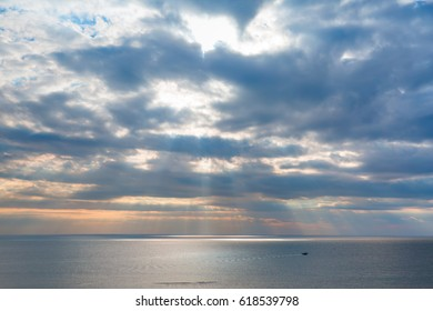 Spectacular landscape and fishing Boat at mediterranean sea Coast of Adana, Turkey