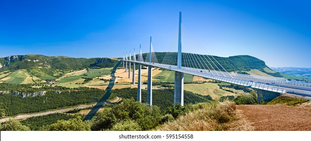 The spectacular Millau Viaduct in South France on gorgeous summer day. Editorial image made in Millau, France on 27 Jul 2017.