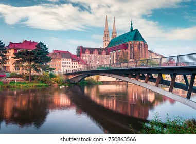 Spectacular morning view of St Peter and Paula's Church, on the Polish border. Colorful autumn cityscape of Gorlitz, eastern Germany, Europe. Traveling concept background.