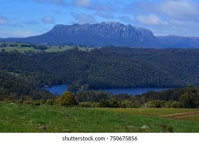 spectacular mount roland, lake barrington, and Farmlands from the sheffield area in northwestern tasmania, australia