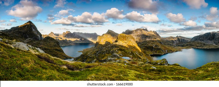 Spectacular mountain panoramic view in the middle of wilder part of Lofoten islands, Norway