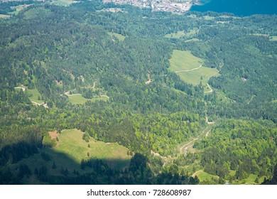 Spectacular mountain views and Lake Alpnacher (Alpnachersee) and Luzern Lake panorama from Pilatus Kulm, Switzerland