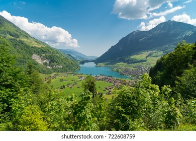 Spectacular mountain views and lake Sarnen (Sarnersee) panorama in the Swiss Alps landscape, Switzerland