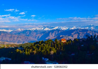 spectacular mountainscape on a winter morning from Dalhousie hill station of Himachal Pradesh nestled in Indian Himalayas.