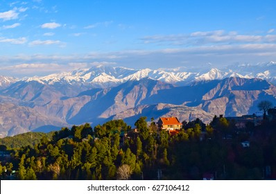 Spectacular mountains-cape of Pir-Panjal Himalayan range on a winter morning from Dalhousie hill station of Himachal Pradesh nestled in Indian Himalayas.