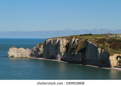 Spectacular natural white cliffs of Etretat and beautiful famous coastline, Normandy, France