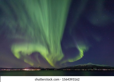 Spectacular Northern Lights over Seljelvnes in North Norway