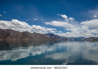 Spectacular Pangong Lake with mountain in Ladakh, India. The lake's water level is at 4241m/13915 ft.