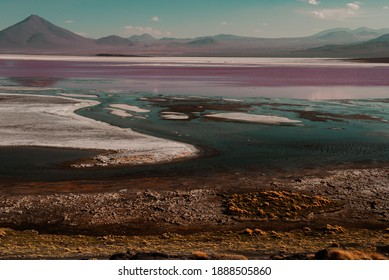 Spectacular panorama of Laguna Colorada (or Red lagoon) in Bolivia: a salt lake characterized by shallow waters rich in minerals and microorganisms, home to flamingos and llamas.