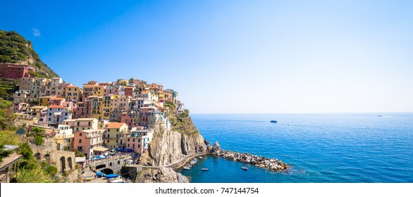 Spectacular panorama of Manarola Town in Cinque Terre during a sunny day