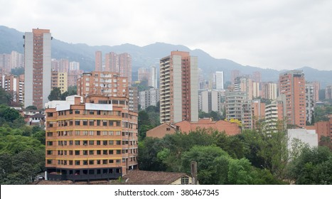 Spectacular panorama of modern South American city Medellin, Colombia