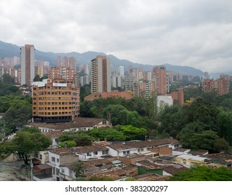 Spectacular panorama of modern South American city Medellin, Col