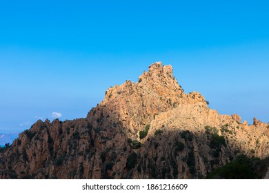 Spectacular panorama with the red rocks in the north of the island Corsica in France, near Piana