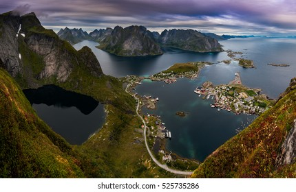Spectacular Panorama from Reinebringen over Reine Town, Lofoten, Norway
