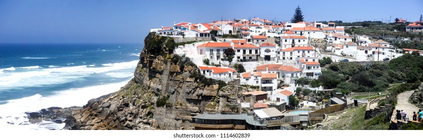 Spectacular panoramic view of Azenhas do Mar, a seaside village on the Portuguese coast northwest of Lisbon, Portugal