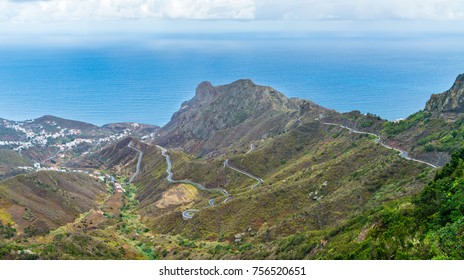 Spectacular, panoramic view of a dangerous mountain road in Canary Islands, Tenerife.