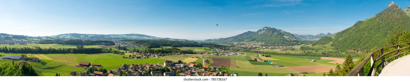 Spectacular panoramic view from the Gruyeres Castle (Chateau de Gruyeres), in the alpine foothills, Canton Fribourg, Switzerland