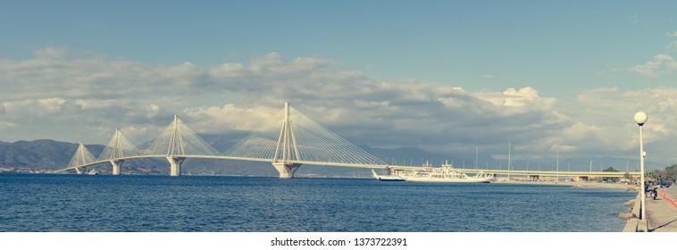 Spectacular panoramic view of metal suspenision bridge.